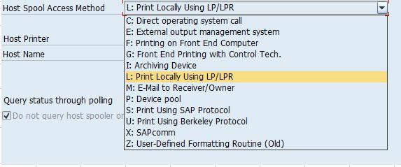 SAP Spool Access Method Type - BuddySAP